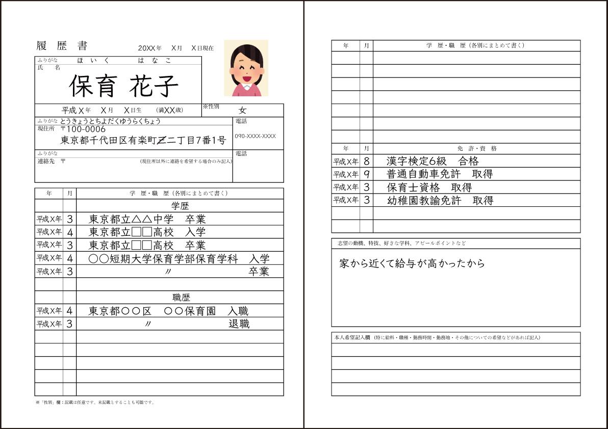 履歴 書 の 書き方 パート